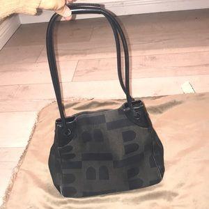 Bally black woven & leather bucket bag made Italy